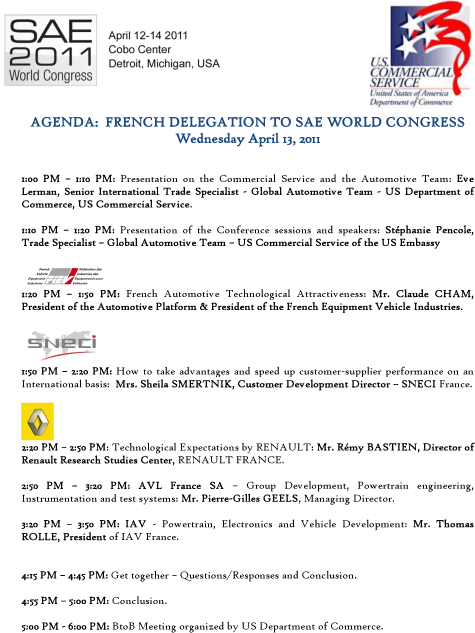 SNECI - SAE Congress French Innovation April 2011