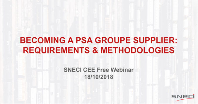 "Webinar Invitation ""Becoming A PSA Groupe Supplier: Requirements & Methodologies"""